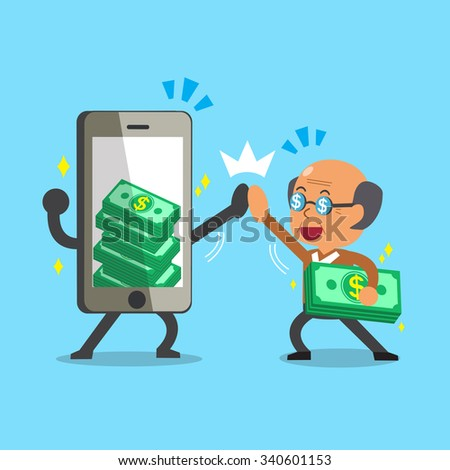 Cartoon old man and smartphone earning money - stock vector
