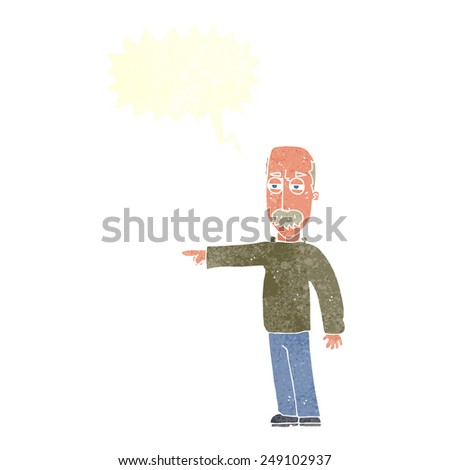 cartoon old man gesturing Get Out! with speech bubble - stock vector