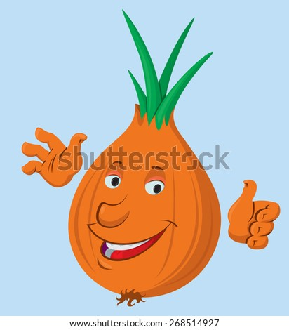 Cartoon onion vegetable character.  Vector illustration - stock vector