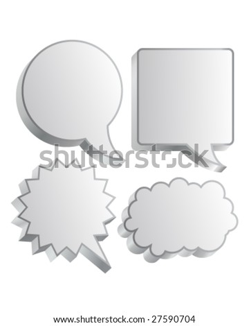 Cartoon or comic thought and conversation bubble in vector illustration - stock vector