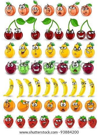 Cartoon orange, banana, apples, strawberry, pear, cherry, peach - stock vector