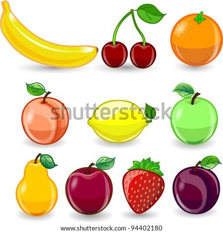Cartoon orange, banana, apples, strawberry, pear, cherry, peach, plum, lemon - stock vector