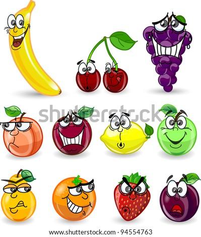 Cartoon orange, banana, apples, strawberry, pear, cherry, peach, plum, lemon, grapes - stock vector