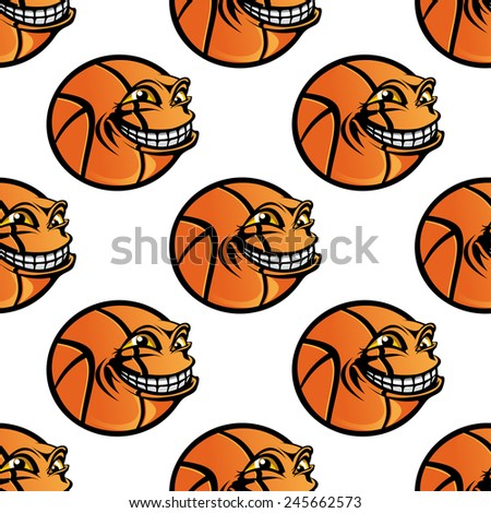 Cartoon orange basketball ball character in sporting seamless background for sports or wallpaper design - stock vector