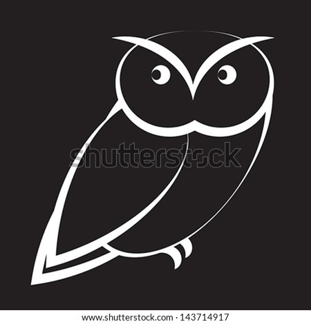 Cartoon owl in black and white - stock vector
