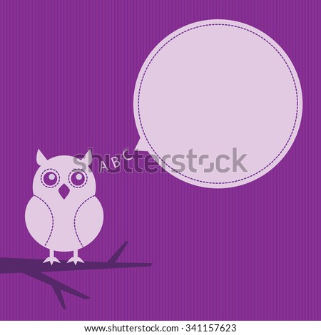 cartoon owl sitting on a branch with speech bubble - stock vector