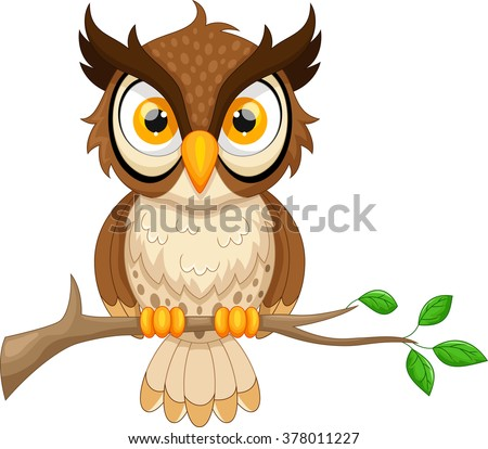 Cartoon owl sitting on tree branch - stock vector