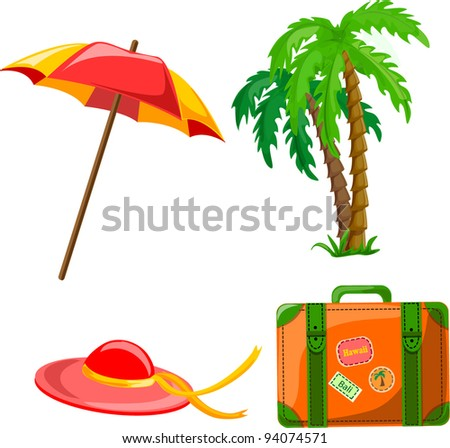 Cartoon palm, umbrella, hat and suitcase - stock vector