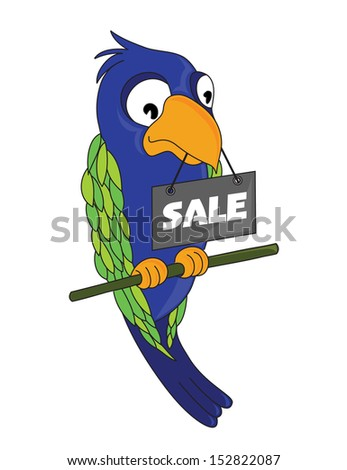 "Cartoon parrot with tag ""Sale"" (vector) - stock vector"