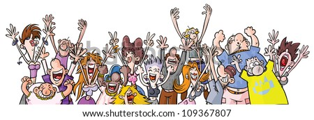 Cartoon Party Enthusiastic People. - stock vector