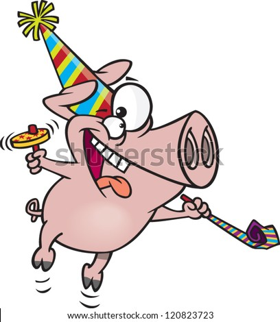 cartoon partying pig with a party hat and noise makers - stock vector