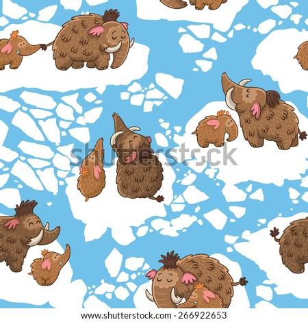 Cartoon pattern with mammoths on the ice - stock vector