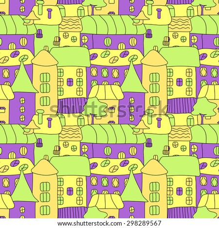 Cartoon pattern with tiny bright vector houses and trees. Hand drawn seamless ornament can be used for web page textured backgrounds, pattern fills, design projects, textile, wrapping, wallpaper. - stock vector