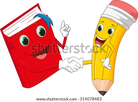 Cartoon pencil and books shaking hands - stock vector