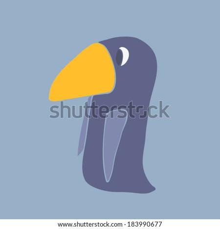 cartoon penguin, vector illustration, hand drawn   - stock vector