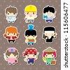cartoon people job stickers - stock vector