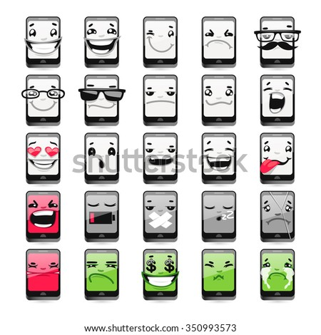 Cartoon Phones Emoticons. Isolated on white background. - stock vector
