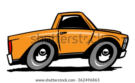 Cartoon pick up truck. Vector illustration - stock vector