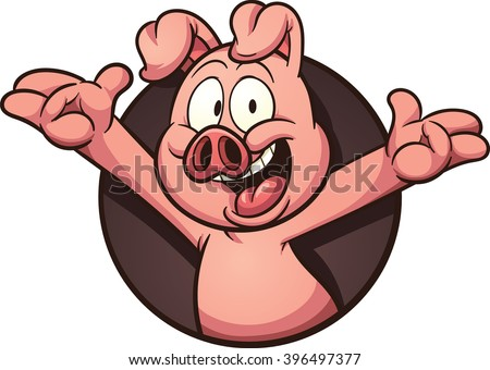 Cartoon pig coming out of a hole. Vector clip art illustration with simple gradients. All in a single layer.  - stock vector