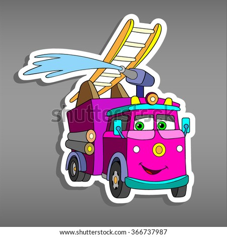 Cartoon pink Fire truck for sticker for girls.Vector illustration of water engine car for scrapbook. Emergency car Applique Background.Funny smile car in paper cut style. Comic character for textile  - stock vector