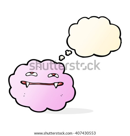cartoon pink fluffy vampire cloud with thought bubble - stock vector
