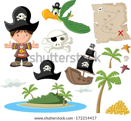 Cartoon pirate boy with pirate icon set.  - stock vector
