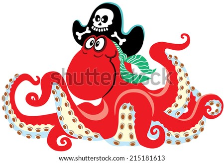 cartoon pirate octopus, isolated image for little kids - stock vector