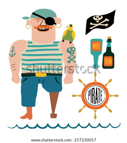 Cartoon pirate vector set. Pirate with a parrot on shoulder, flag with skull and bones, bottles of rum and steering wheel. - stock vector