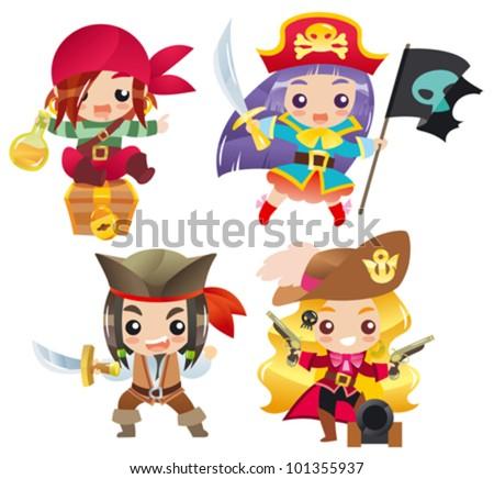 Cartoon pirates Set 1 - stock vector