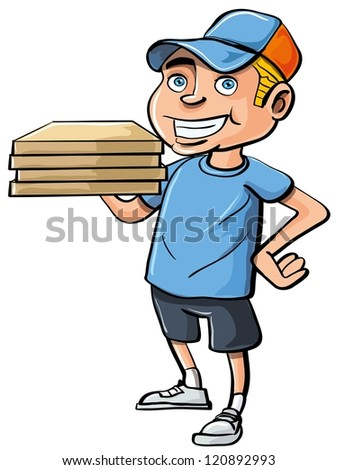 Cartoon pizza delivery boy. Isolated on white - stock vector