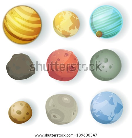 Cartoon Planets Set/ Illustration of a set of various planets, moons, asteroid and earth globes isolated on white for scifi backgrounds - stock vector
