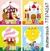cartoon playground card - stock vector