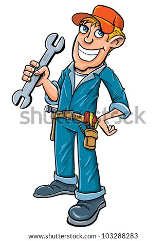 Cartoon plumber holding a wrench. Isolated on white - stock vector