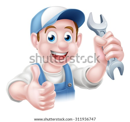 Cartoon Plumber or auto repair mechanic service handyman worker man giving a thumbs up and holding a spanner - stock vector