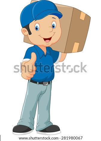 Cartoon postman gives thumb up - stock vector
