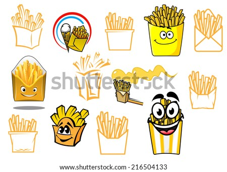 Cartoon potato fries icons or symbols set, colorful and outline style variants, for cooking, fast food, cafe, restaurant menu or logo design - stock vector