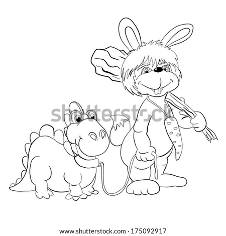 Cartoon prehistoric hare with a cudgel leads on a leash of dinosaur. coloring-book - stock vector