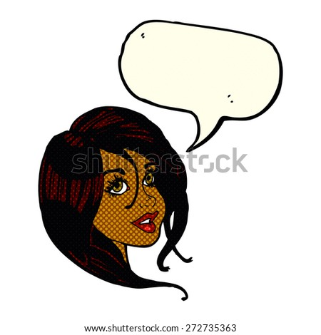 cartoon pretty female face with speech bubble - stock vector