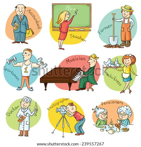 Cartoon profession set including waiter, teacher, athlete, pianist, doctor, photographer, bookkeeper, farmer - stock vector