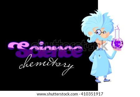 Cartoon Professor with glass tube of color sparkling liquid - stock vector