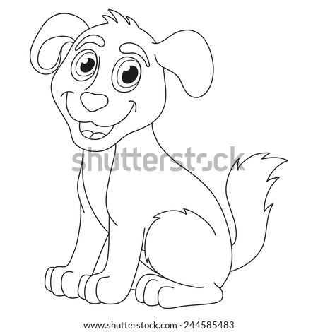 Cartoon puppy, vector illustration of cute dog, coloring book page for children - stock vector
