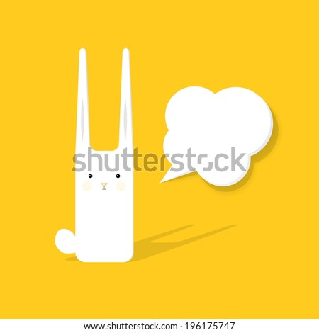 cartoon rabbit with speech bubble - stock vector