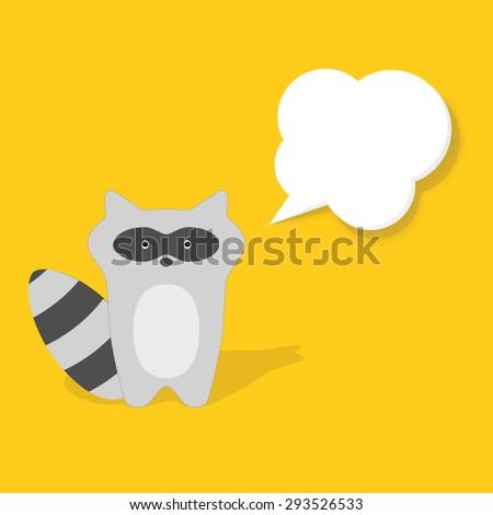 cartoon raccoon flat paper image - stock vector