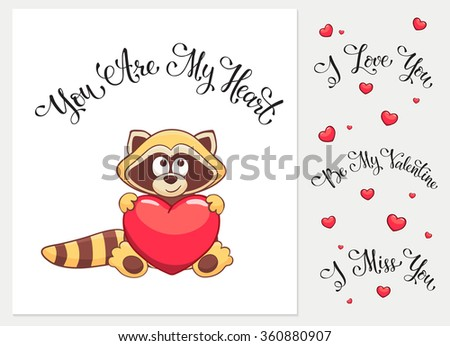 Cartoon raccoon with heart. I love you. I miss you.  Be my Valentine. You are my Heart. Funny greeting card. - stock vector