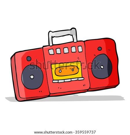 cartoon radio cassette player - stock vector