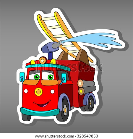 Cartoon red Fire truck car sticker for boys. Vector illustration of water engine car for scrapbook. Emergency truck Applique Background.Funny smile car in paper cut style. Comic character for textile  - stock vector