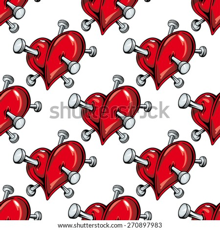 Cartoon red hearts pierced by nails seamless pattern on white background for love or broken heart concept design - stock vector