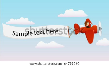 Cartoon red plane with pilot and advertising banner - stock vector