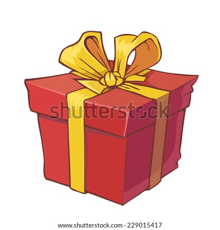 Cartoon red present with golden bow - stock vector