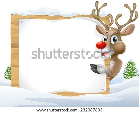 Cartoon reindeer Christmas Sign of a cute cartoon Christmas Reindeer peering around a snowy sign and pointing - stock vector